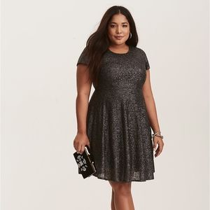 Torrid Gunmetal Grey Sequin Cutout Skater Dress